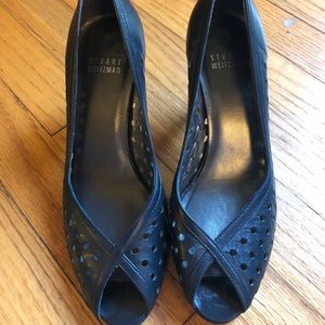Stuart Weitzman Peep Toe Heel Dark Blue Sz 5